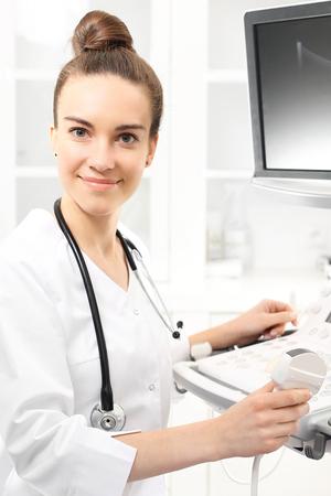 health care facility: Camera sonogram, the doctor performing the sonogram examination