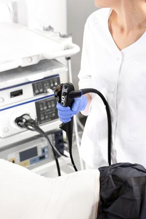 endoscopic: Hospital ward, gastroenterologist preparing the study.