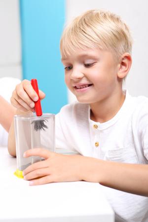 magnetismo: Il piacere della scoperta. Il bambino vede il fenomeno del campo magnetico sugli insegnamenti della fisica.