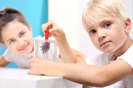 magnetic field: A magnetic field. The child sees the phenomenon of magnetic field on the lessons of physics. Stock Photo