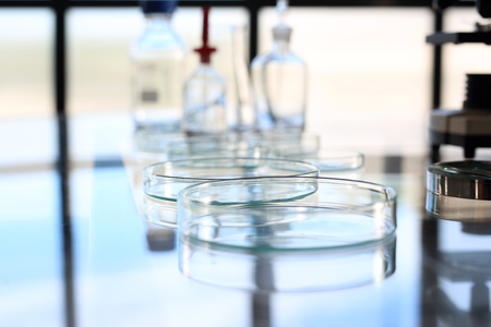 reagents: Laboratory. Reagents and glassware for chemical testing Stock Photo