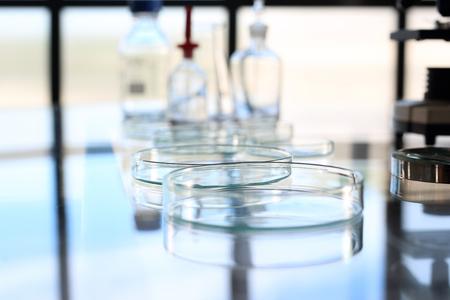 bio medicine: Laboratory. Reagents and glassware for chemical testing Stock Photo