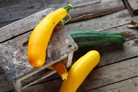 cucurbit: Zucchini and cucurbit. Autumn harvest in a home pantry