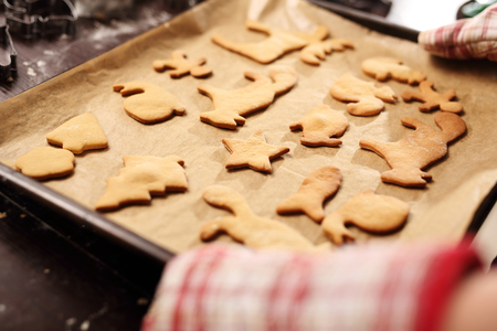 pastry cutters: Baking cakes. Cookies on a baking tray inserted into the oven.