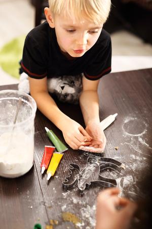 preparing dough: Fun in the kitchen preparing dough Stock Photo