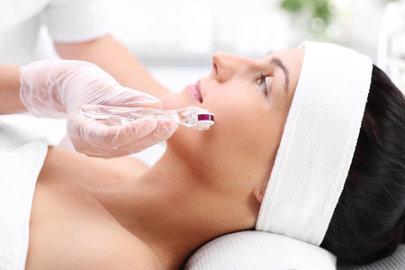 Microneedle mesotherapy, face lift Stock Photo