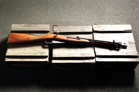 vintage military rifle: historical weapons, rifle during the war Stock Photo