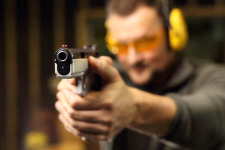 Gun. Sport shooting range. Stock Photo - 68992417