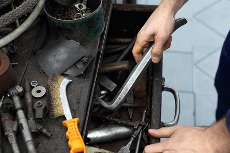 rusty nail: Workshop tools. Garage, craftsman removed.