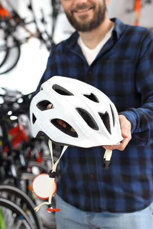 Bicycle helmet protects the head while riding a bicycle.