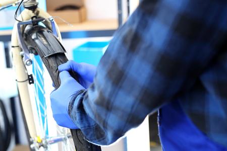 centering: The bike repairs the bike in the bike.