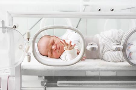 Newborn baby in an incubator. A newborn baby in an incubator in a hospital ward. Stockfoto