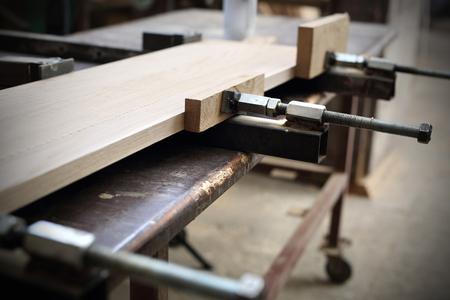 Joinery. Gluing boards. Reklamní fotografie