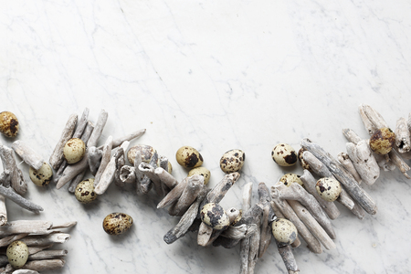 Easter composition with eggs and shells, top view. Ecological style.