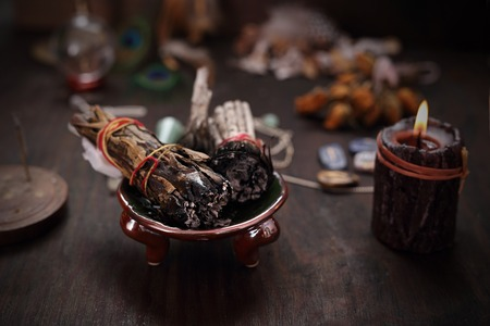 Divination and spells. Incense with white sage and cedar herbs.