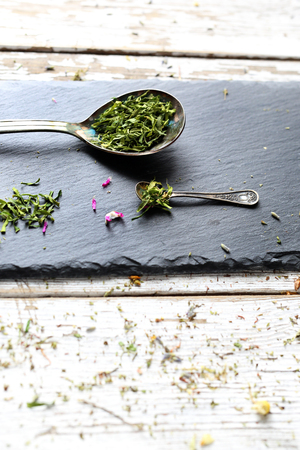 Composition of dried herbs.