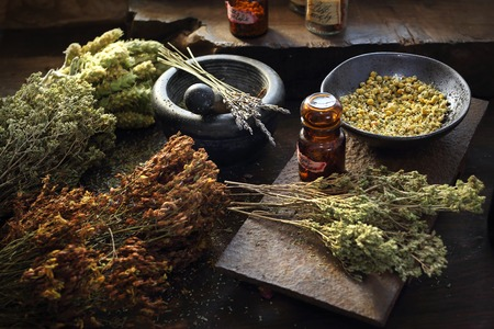 Herbalist. Herbal medicine and natural medicine. Traditional herbal remedies. Reklamní fotografie