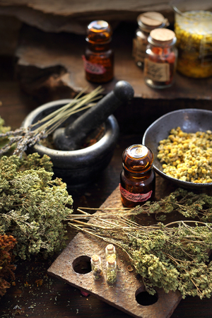 Herbal oils and natural medicines. Herbal medicine and alternative medicine.