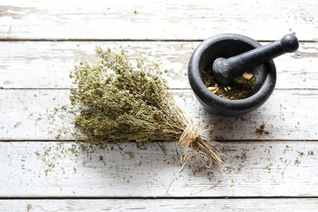 Dried herbs in natural medicine and cooking