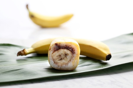 Banana sushi. Sushi roll with strawberry and chocolate.