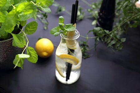 A refreshing cold drink. Water with fruit and mint. A proposal for serving a cold drink