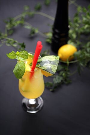 Cocktail bar, colorful sweet alcoholic drink based on orange juice and rum Banco de Imagens