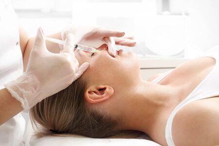 Mesotherapy, needle mesotherapy. Rejuvenating treatment, wrinkle and skin injection. Zdjęcie Seryjne