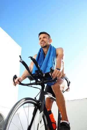Spinning, Circuit training on a stationary bike. Sports training on a stationary exercise bike.