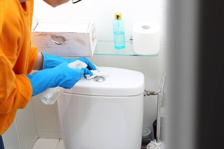 A woman cleans the toilet with a disinfectant spray