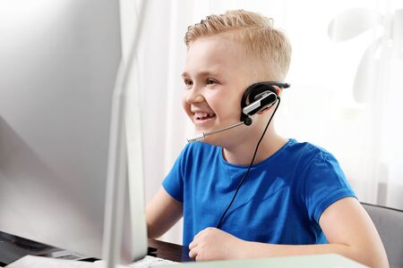 E-learning. Online lesson. The child learns via the internet, online lesson.