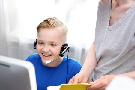 Online lesson.E-learning. The child learns via the internet, online lesson.