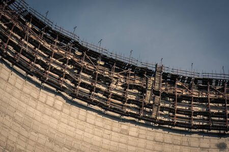 Cooling tower at abandoned construction site of blocks 5 and 6 of the Chernobyl nuclear power plant