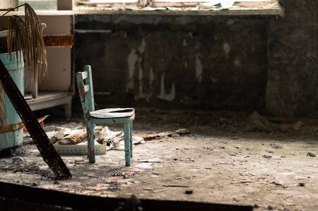 Small blue children´s stool in children's medical unit of hospital in Pripyat, Chernobyl Exclusion Zone