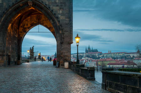 View from the Charles bridge in Prague over the Vlatva river at night