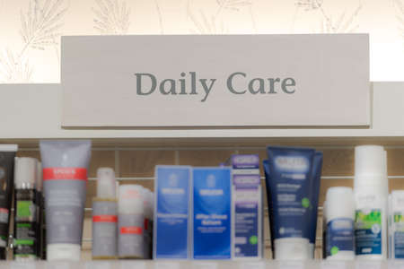 Munich, Germany - 2021 02 05: Sign over shelf in german organic supermarket for daily care products