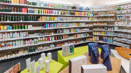 Munich, Germany - 2021 02 05: Natural cosmetics section in german organic supermarket Editorial