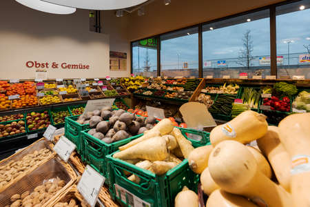 Munich, Germany - 2021 02 05: Overview of fruit and vegetable section in german organic supermarket