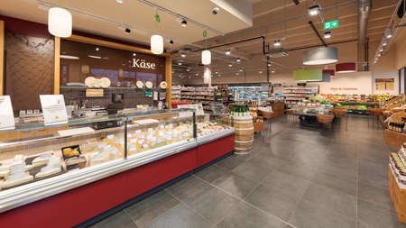 Munich, Germany - 2021 02 05: Entrance area in german organic supermarket with cheese section and vegetables and fruits department