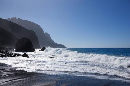 Sea with rocky coastline at Playa del Trigo, La Gomera, Canary Islands, Spain.