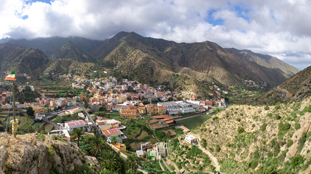 La Gomera - Panoramic view of the center of Vallehermoso. In the background the cloudy Cumbre de Chijere with Buenavista.