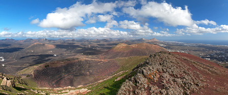 Lanzarote - Panorama from the Montana de Guardilama, the highest mountain in the wine region of La Geria, to the north.