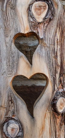 out of engagement: Two hearts were cut one above the other from a narrow, heavily grained wooden board