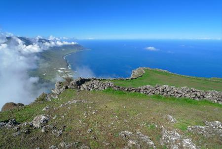 golfo: Escarpment of the El Golfo valley, taken on the plateau Meseta de Nisdafe between the Mirador de Jinama and the Mirador de Izique on El Hierro, Canary Islands, Spain.