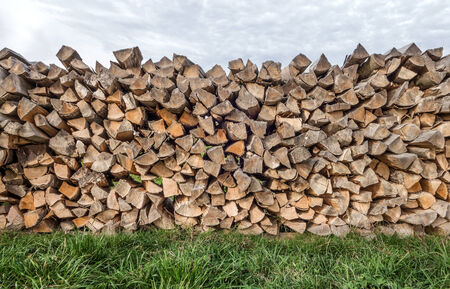 Woodpile with fire wood on a meadow under a cloudy sky