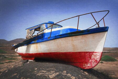 alienated: An old, bust, rusted, blue-white-red fishing boat lies on a mound of earth ashore. The picture was created with a strong grain effect. Stock Photo