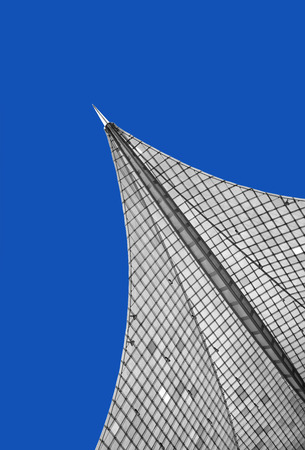plexiglas: Detail of a modern, futuristic, pointed roof construction against blue sky. It is the top of the Konzertsegel in Radolfzell at the Lake Constance, Germany. Editorial