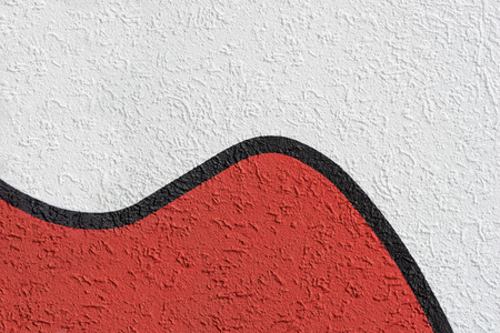 roughcast: Abstract pattern of white and red roughcast with a wavelike black separator line Stock Photo