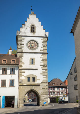 historical periods: Franziskanertor in Ueberlingen Germany a late Gothic town gate built around 1494 quietly used for road traffic.