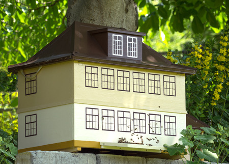 tinkered: Bees swarming on a bee house, Which was Individually crafted in the shape of a house. Stock Photo