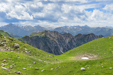 early summer: Mountain landscape in early summer in the Bavarian Alps